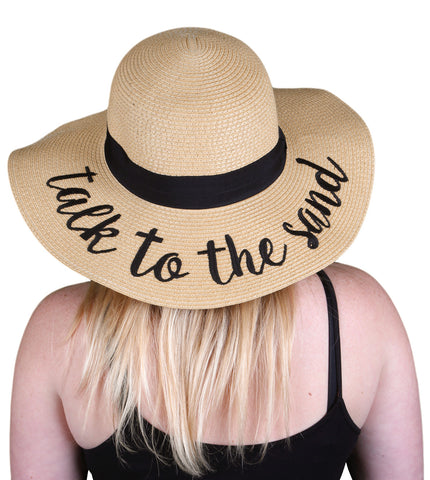 Funky Junque's Women's Bold Cursive Embroidered Adjustable Beach Floppy Sun Hat - Talk to the Sand