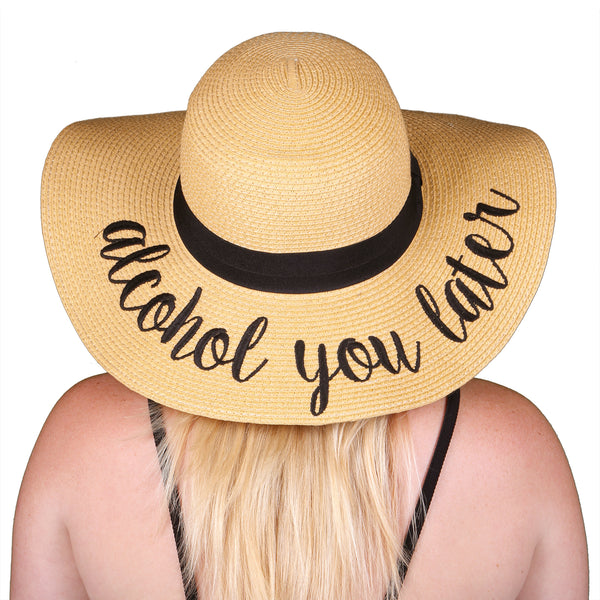 C C Embroidered Sun Hat Alcohol You Later Funky Junque