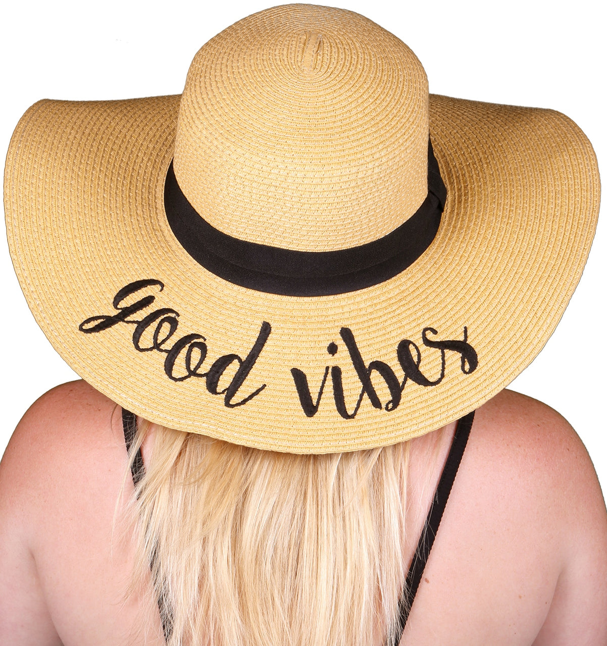 C.C Embroidered Sun Hat - Good Vibes