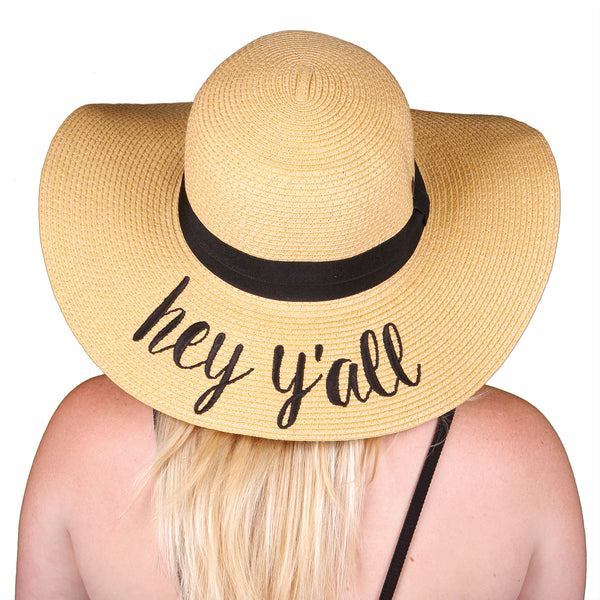 C.C Embroidered Sun Hat - Hey Y'all