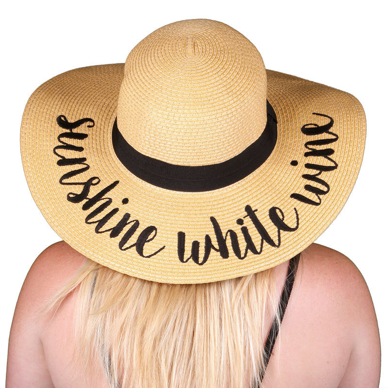 C.C Embroidered Sun Hat - Sunshine White Wine