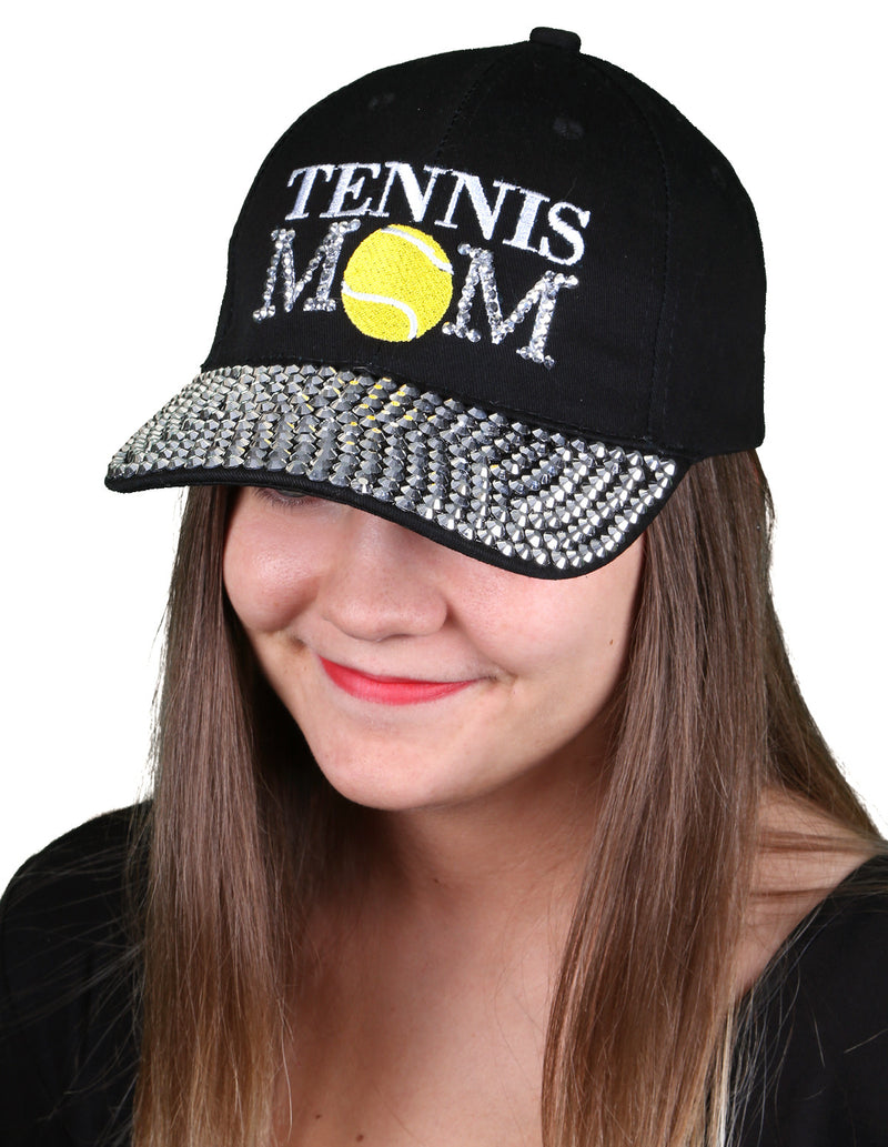 Funky Junque's Women's Silver Rhinestone Bill Sports Mom Bling Baseball Cap Hat - Tennis Black