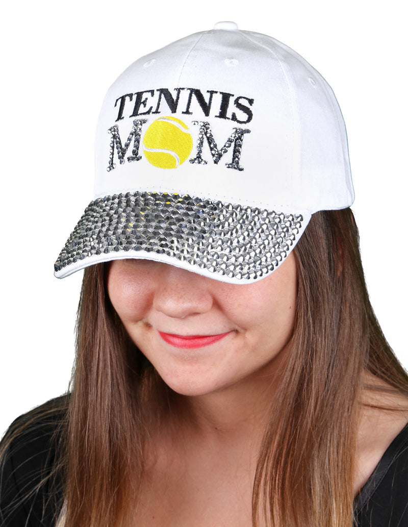 Funky Junque's Women's Silver Rhinestone Bill Sports Mom Bling Baseball Cap Hat - Tennis White