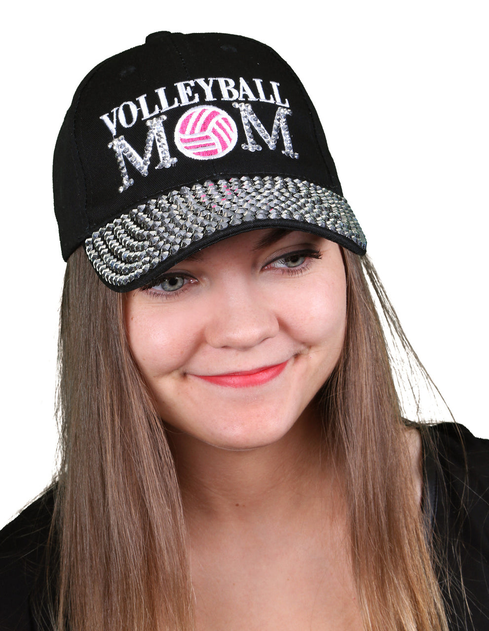 Funky Junque's Women's Silver Rhinestone Bill Sports Mom Bling Baseball Cap Hat - Volleyball Black
