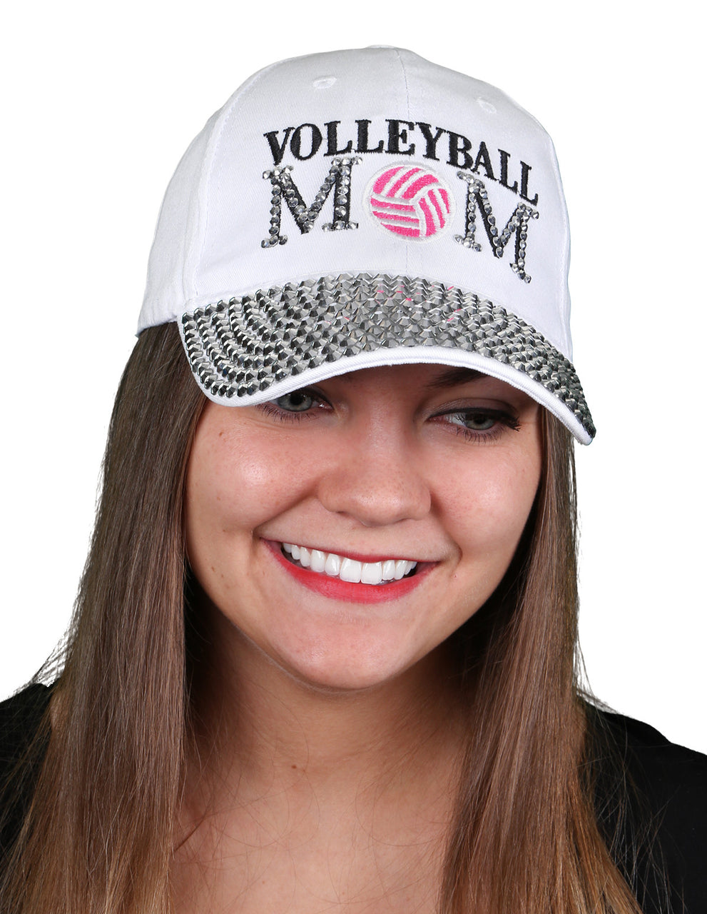 Funky Junque's Women's Silver Rhinestone Bill Sports Mom Bling Baseball Cap Hat - Volleyball White