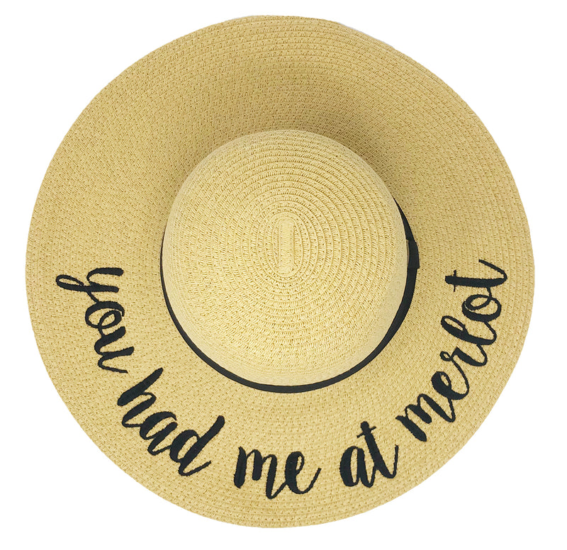 C.C Embroidered Sun Hat - You Had Me at Merlot