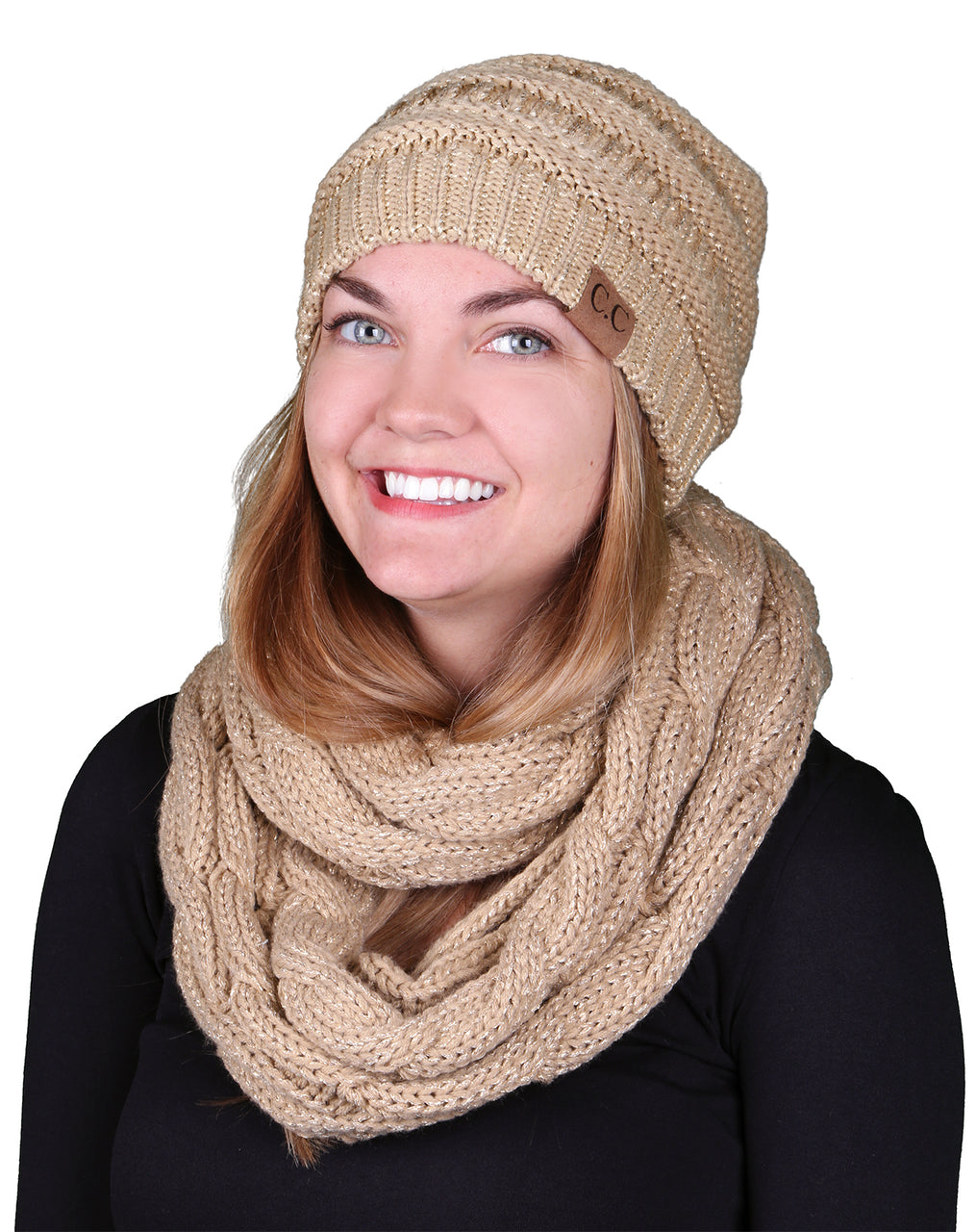 Funky Junque CC Soft Stretch Beanie Bundled With Matching Infinity Scarf - Metallic Gold