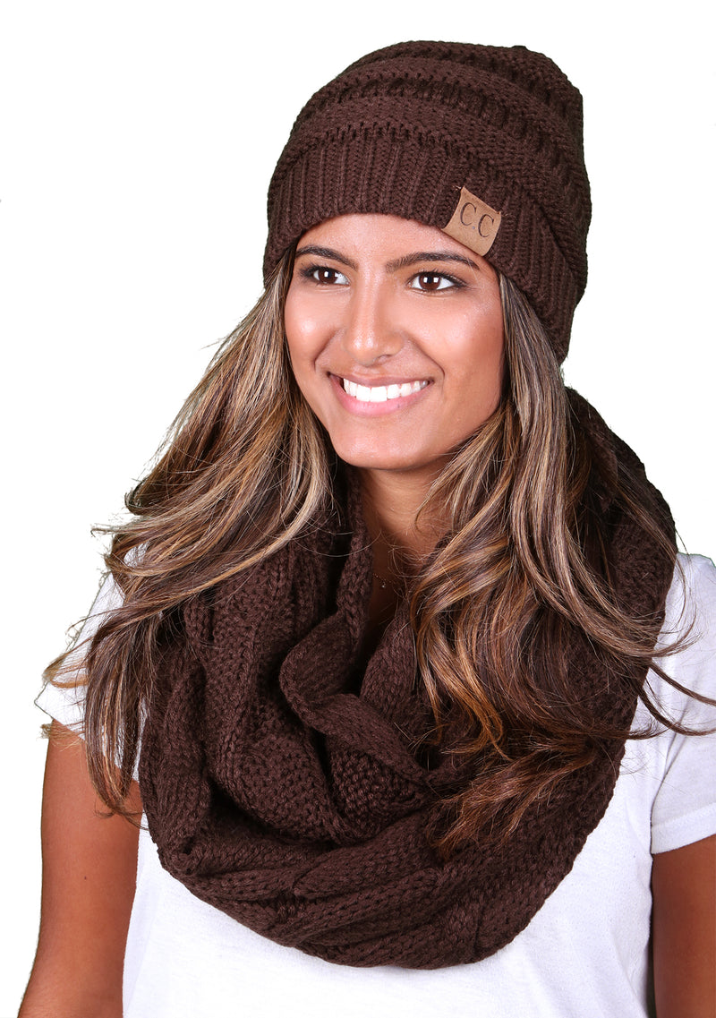 Funky Junque CC Soft Stretch Beanie Bundled With Matching Infinity Scarf - Brown
