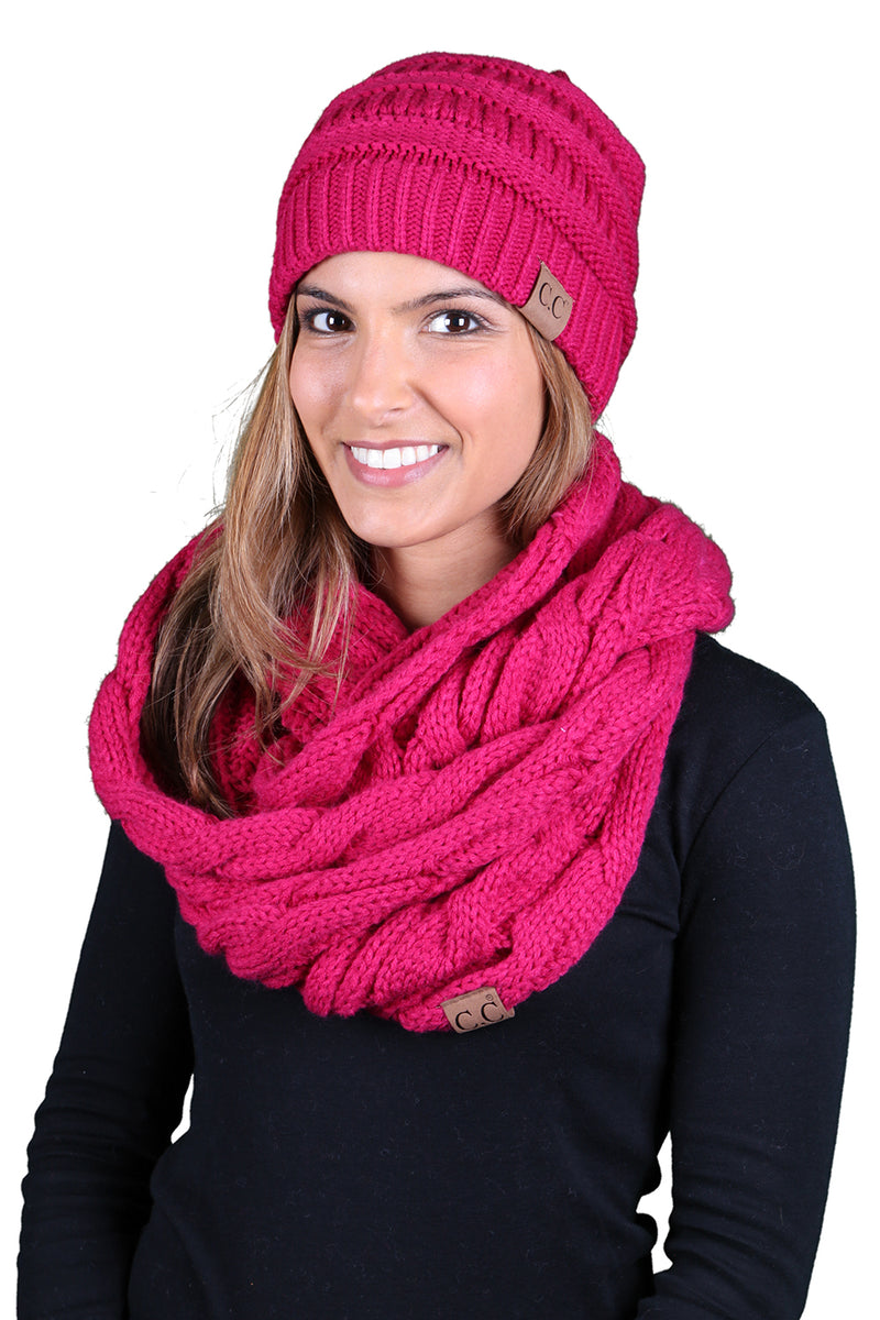 Funky Junque CC Soft Stretch Beanie Bundled With Matching Infinity Scarf - Hot Pink