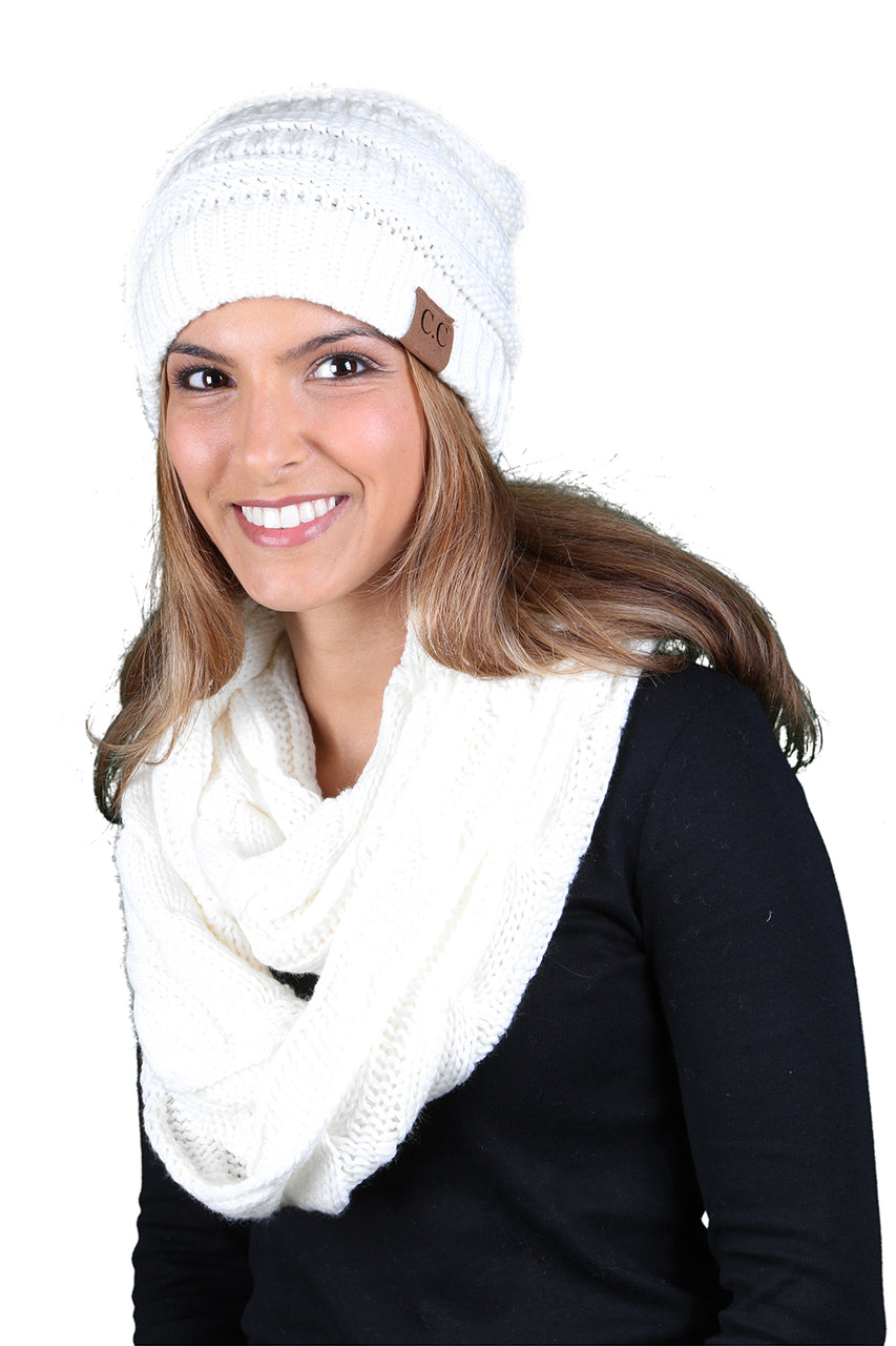Funky Junque CC Soft Stretch Beanie Bundled With Matching Infinity Scarf - Ivory