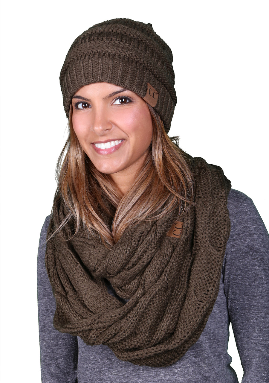 Funky Junque CC Soft Stretch Beanie Bundled With Matching Infinity Scarf - Olive