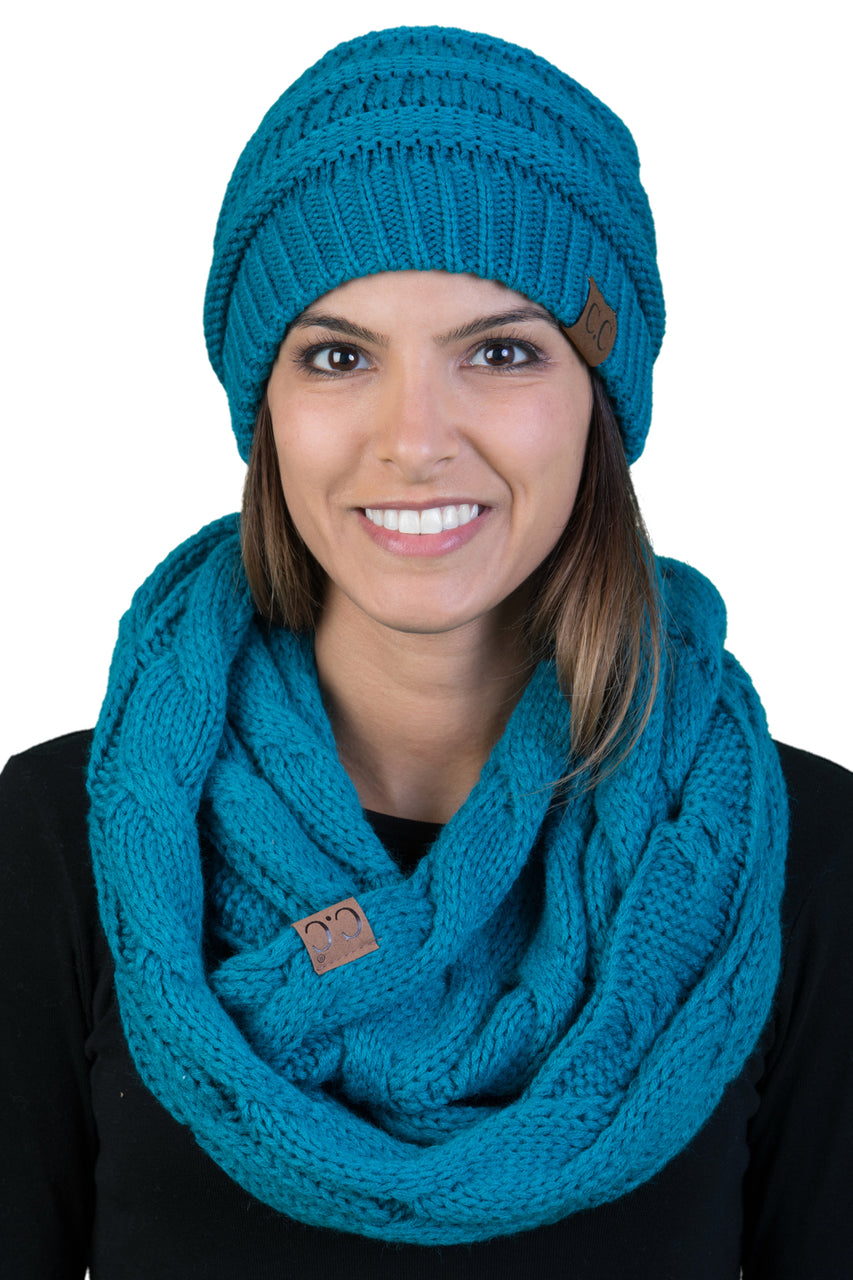 C.C Classic Fit Beanie Bundled With Matching Infinity Scarf - Teal