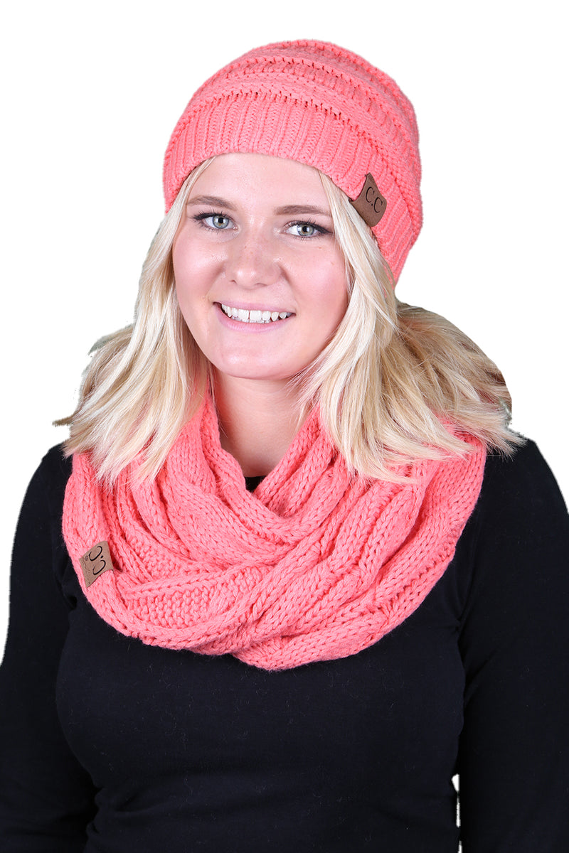 Funky Junque CC Soft Stretch Beanie Bundled With Matching Infinity Scarf - Coral