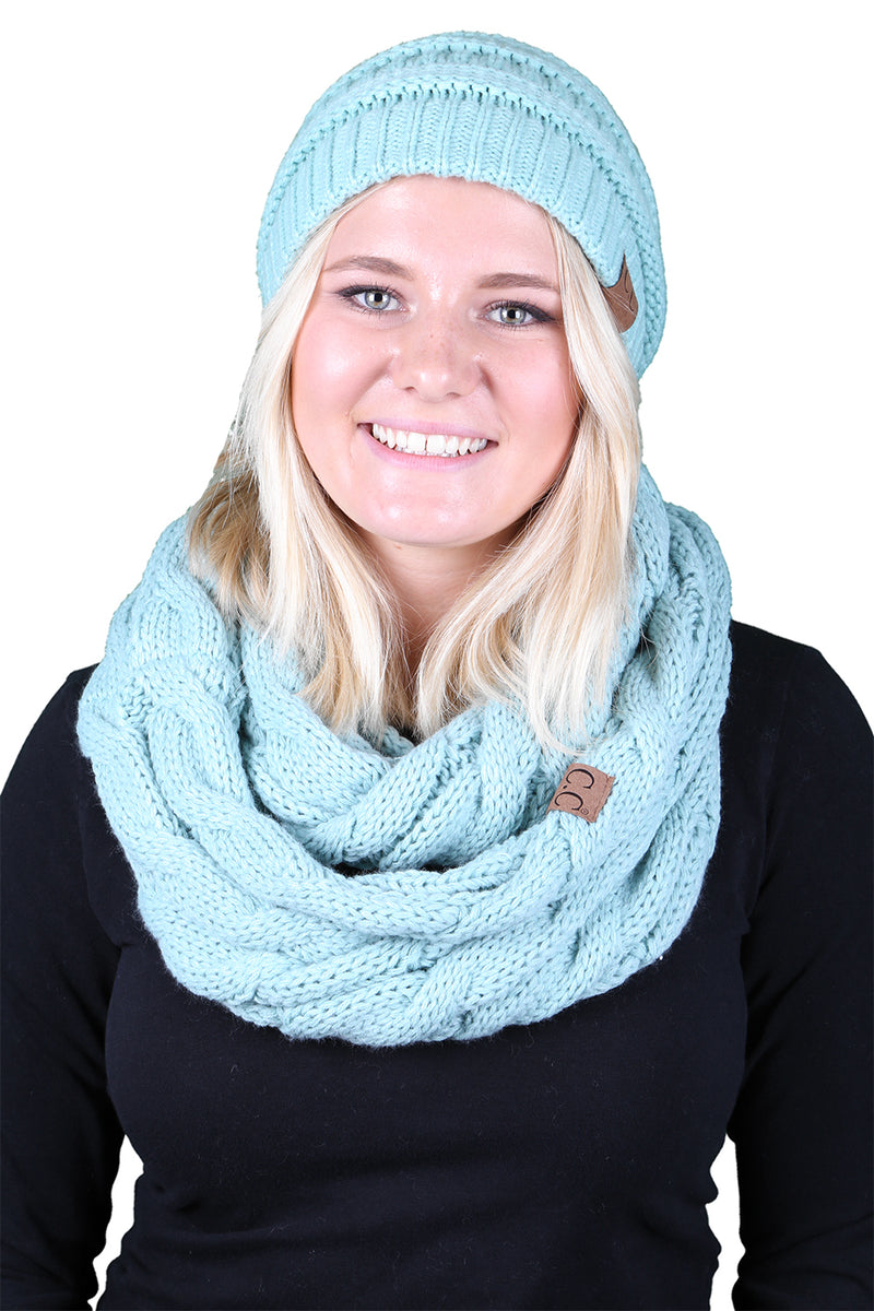 C.C Classic Fit Beanie Bundled With Matching Infinity Scarf - Mint