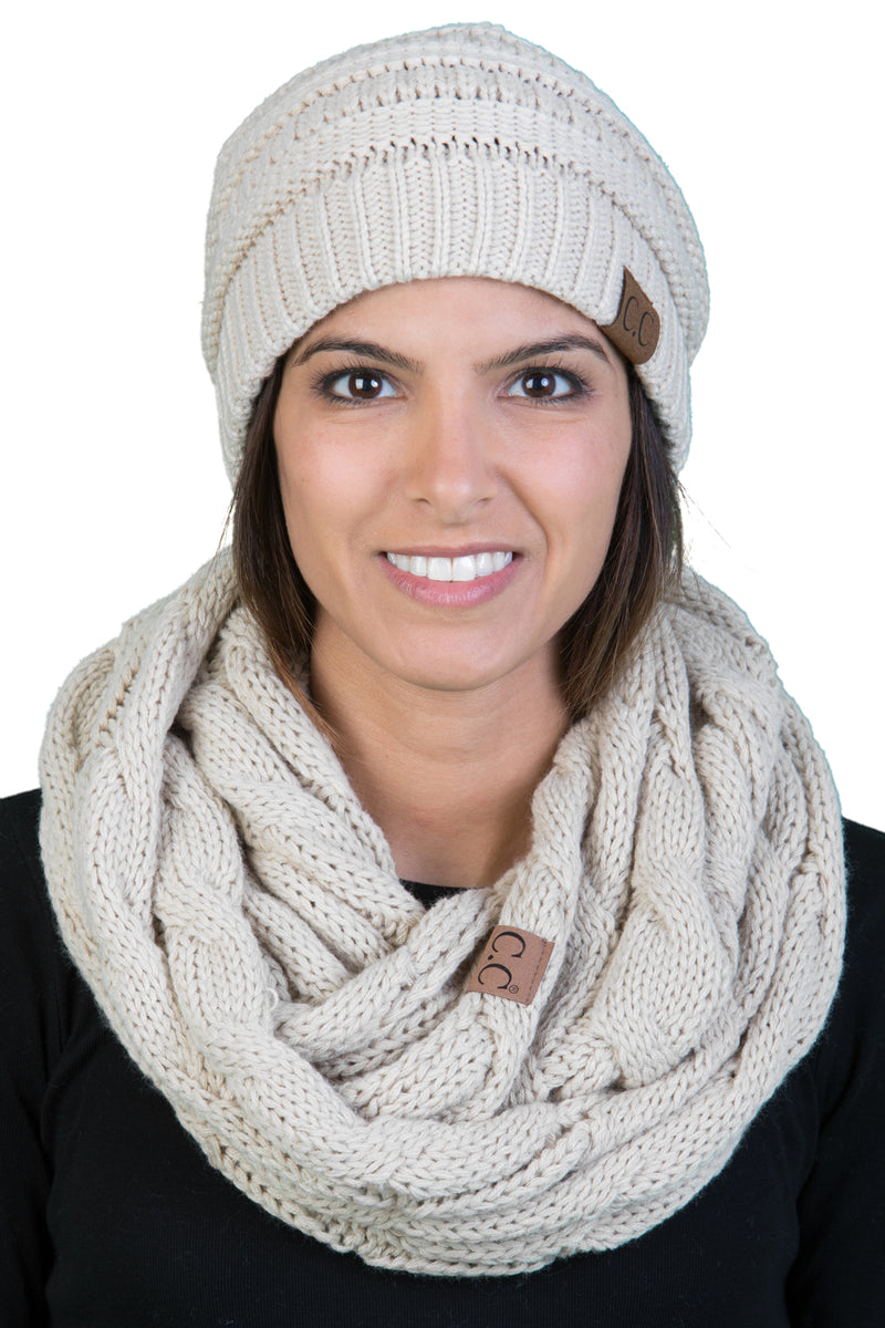 Funky Junque CC Soft Stretch Beanie Bundled With Matching Infinity Scarf - Beige
