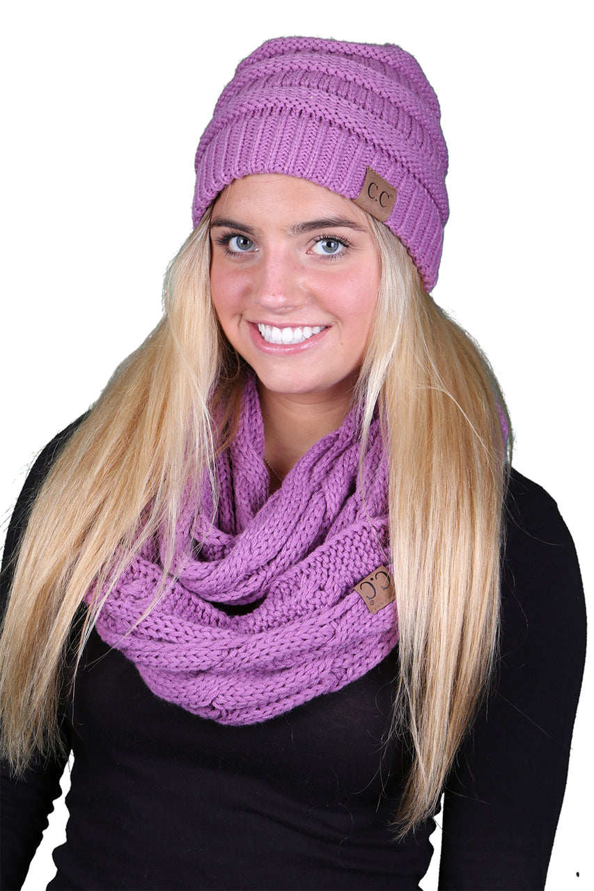 Funky Junque CC Soft Stretch Beanie Bundled With Matching Infinity Scarf - Lavender