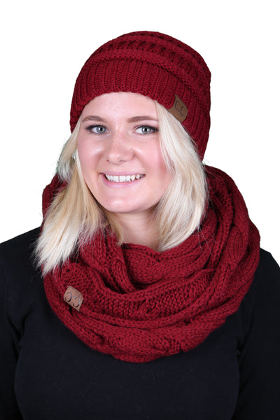 C.C Classic Fit Beanie Bundled With Matching Infinity Scarf - Burgundy