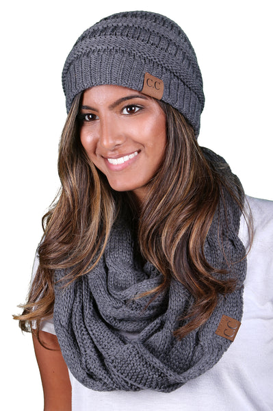 Funky Junque CC Soft Stretch Beanie Bundled With Matching Infinity Scarf - Charcoal