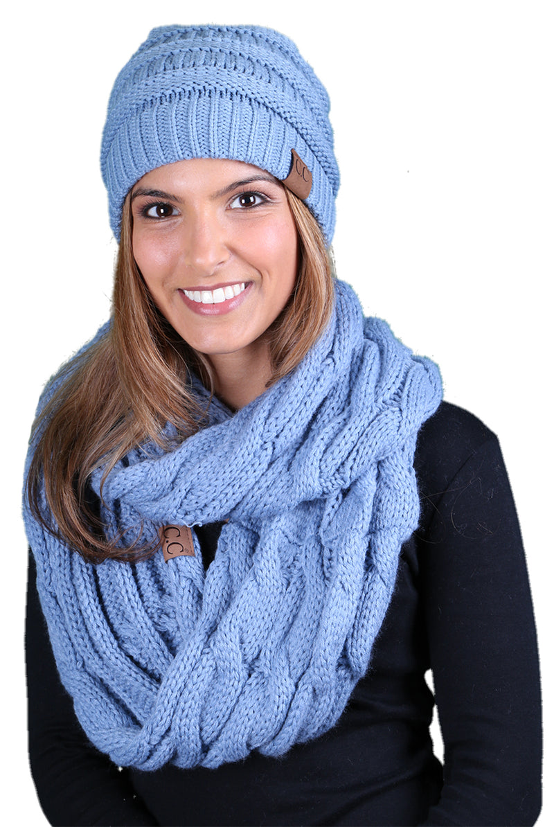 Funky Junque CC Soft Stretch Beanie Bundled With Matching Infinity Scarf - Denim