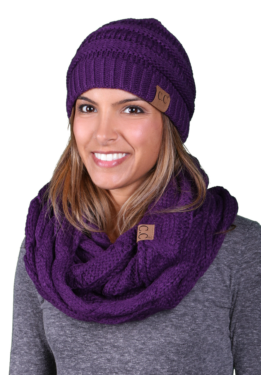 Funky Junque CC Soft Stretch Beanie Bundled With Matching Infinity Scarf - Dark Purple