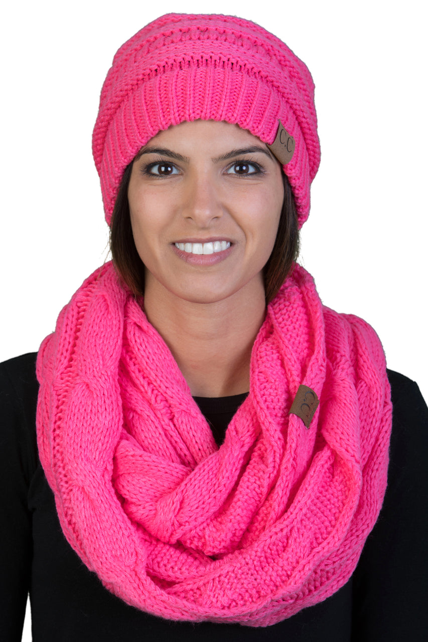 Funky Junque CC Soft Stretch Beanie Bundled With Matching Infinity Scarf - Candy Pink