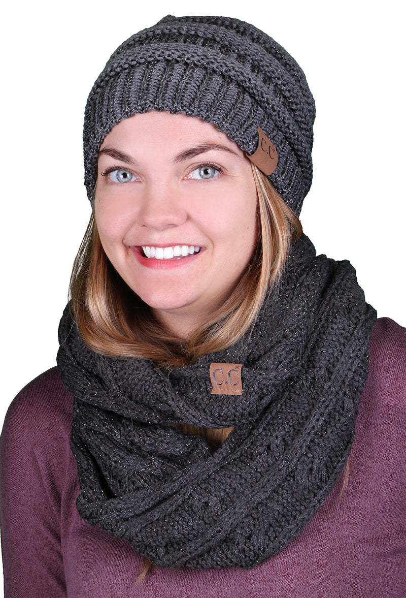 Funky Junque CC Soft Stretch Beanie Bundled With Matching Infinity Scarf - Metallic Grey