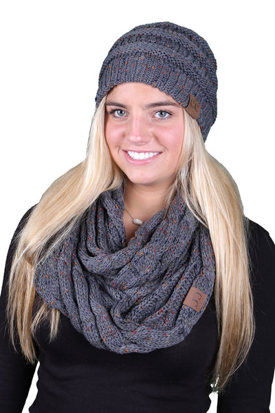 C.C Classic Fit Beanie Bundled With Matching Infinity Scarf - Confetti Melange Grey