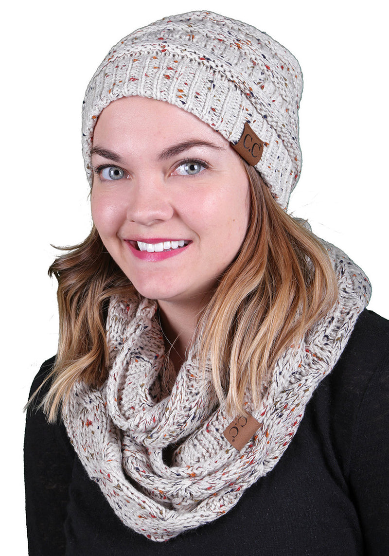 C.C Classic Fit Beanie Bundled With Matching Infinity Scarf - Confetti Oatmeal