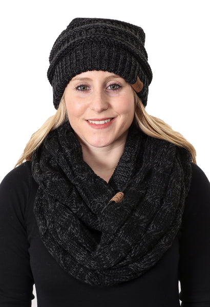 C.C Classic Fit Beanie Bundled With Matching Infinity Scarf - Black Mix #23
