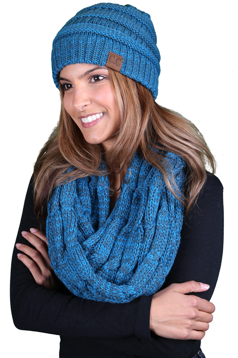 C.C Classic Fit Beanie Bundled With Matching Infinity Scarf -  Blue/Teal #18