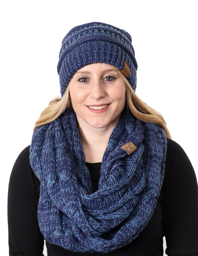C.C Classic Fit Beanie Bundled With Matching Infinity Scarf - Blue/Denim #19