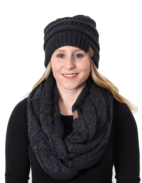 C.C Classic Fit Beanie Bundled With Matching Infinity Scarf - Navy/Charcoal #26
