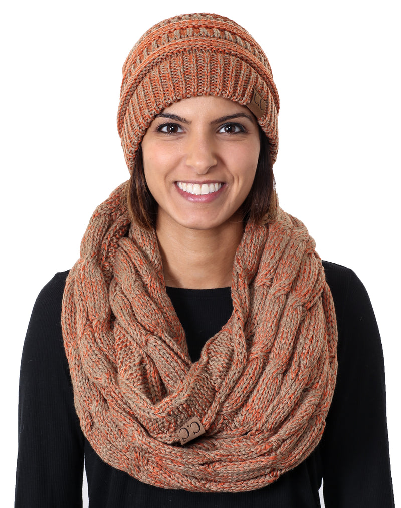 C.C Classic Fit Beanie Bundled With Matching Infinity Scarf - Orange Mix #4