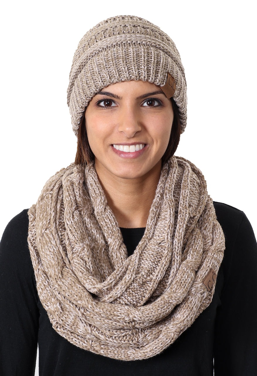 C.C Classic Fit Beanie Bundled With Matching Infinity Scarf - Taupe Mix #8