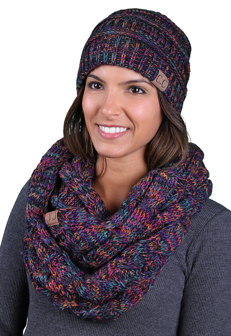C.C Classic Fit Beanie Bundled With Matching Infinity Scarf - Kaleidoscope Mix #32