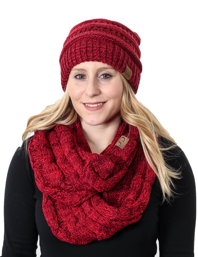 C.C Classic Fit Beanie Bundled With Matching Infinity Scarf - Burgundy Mix #11