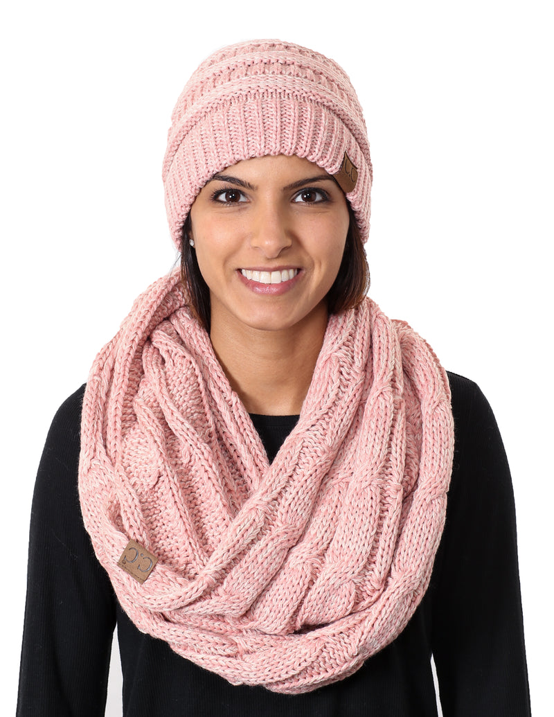 C.C Classic Fit Beanie Bundled With Matching Infinity Scarf - Rose Mix #2