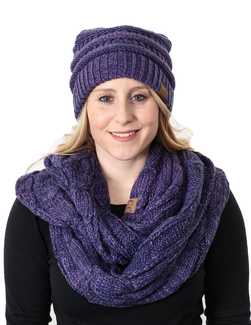 C.C Classic Fit Beanie Bundled With Matching Infinity Scarf - Violet Mix #21