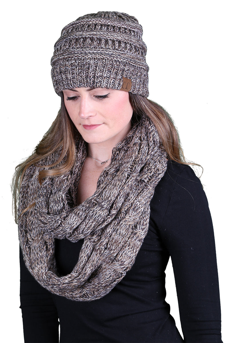 C.C Classic Fit Beanie Bundled With Matching Infinity Scarf - Brown Mix #21