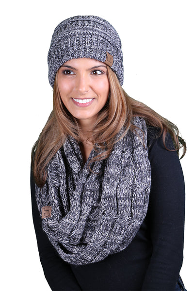 C.C Classic Fit Beanie Bundled With Matching Infinity Scarf - Black/Grey Mix #31