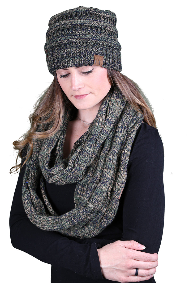 C.C Classic Fit Beanie Bundled With Matching Infinity Scarf - Green/Olive Mix #9