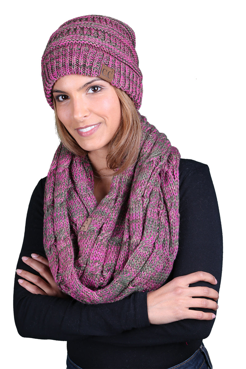 C.C Classic Fit Beanie Bundled With Matching Infinity Scarf - Pink Mix #8