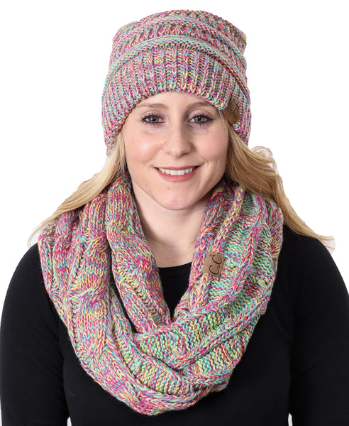 C.C Classic Fit Beanie Bundled With Matching Infinity Scarf - Rainbow #11