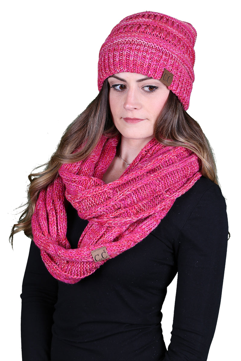 C.C Classic Fit Beanie Bundled With Matching Infinity Scarf  - Red/Pink Mix #10