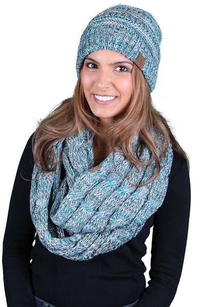 C.C Classic Fit Beanie Bundled With Matching Infinity Scarf - Turquoise Mix #3