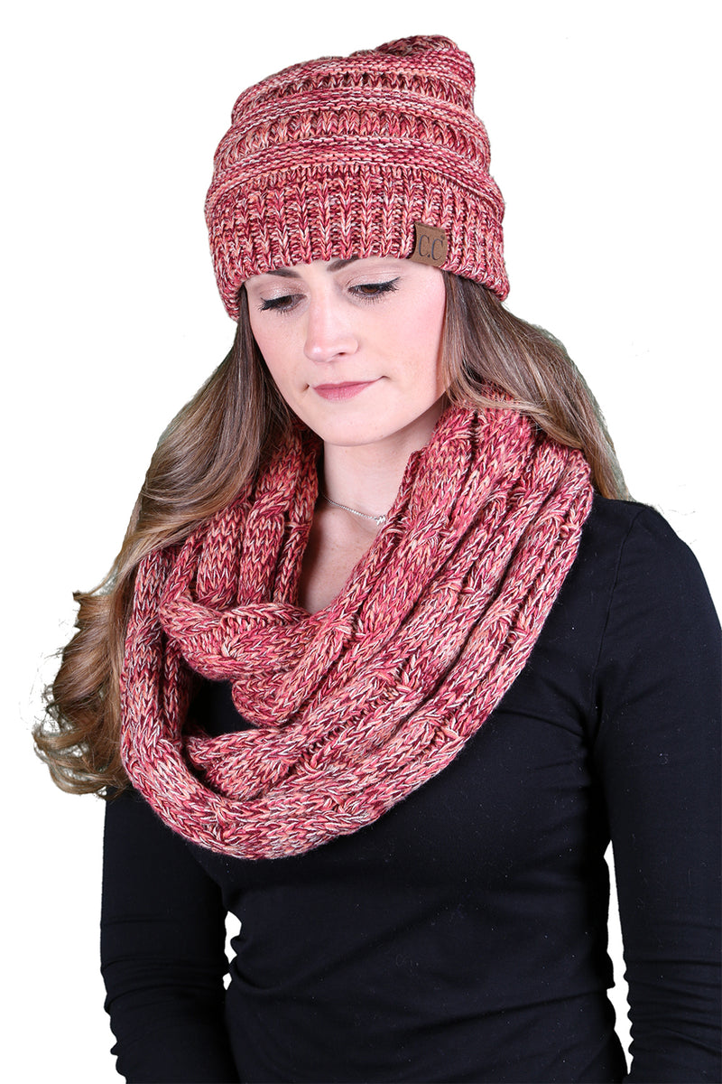 C.C Classic Beanie Bundled With Matching Infinity Scarf - Coral Mix #16