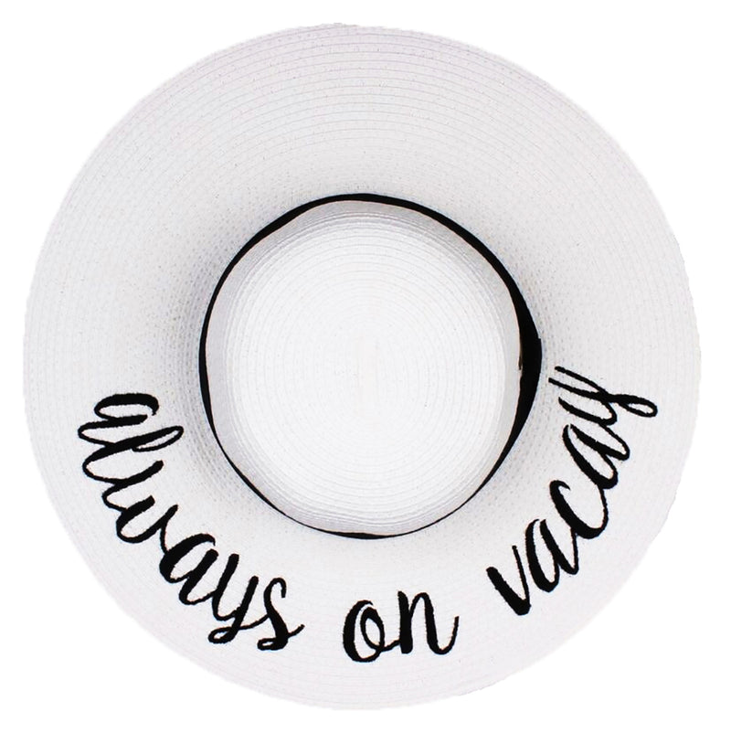 C.C Embroidered Sun Hat - Always on Vacay (White Hat with Black Lettering)