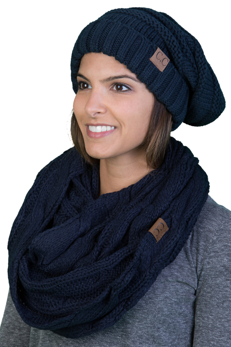 CC Oversized Slouchy Beanie Bundled With Matching Infinity Scarf - Navy