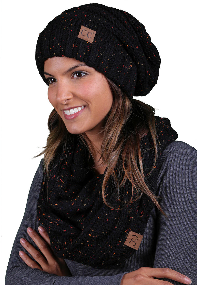 CC Oversized Slouchy Beanie Bundled With Matching Infinity Scarf - Confetti Black