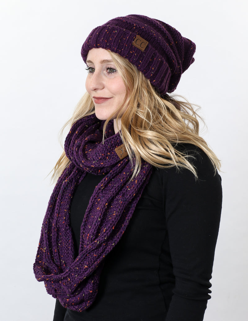CC Oversized Slouchy Beanie Bundled With Matching Infinity Scarf - Confetti Purple
